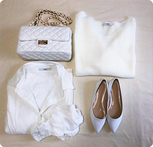 春ファッションアイテム ホワイトシャツ キルティングショルダーバッグ