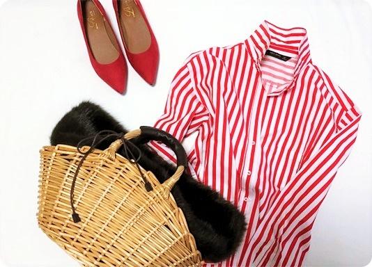 ファッションコーデ ZARA 赤ストライプシャツ