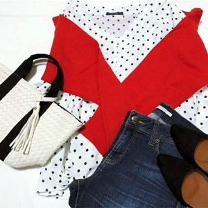 ファッションコーデ ドット柄ブラウス×GU赤カーデ