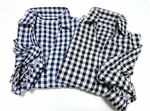 プチプラファッション 盛り袖 ギンガムチェックシャツ ネイビー&ブラック