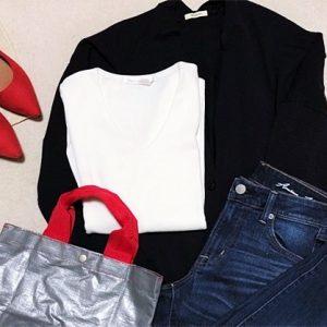 ファッションコーデ 差し色 赤パンプスコーデ