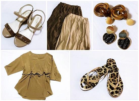 夏のブラウンアイテム プチプラファッション