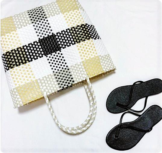 lattice プチプラ メルカドバッグ イエロー×ブラック ビーチサンダル