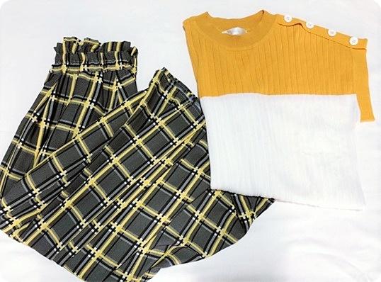 socolla セットアップ ニット&チェック柄ロングスカート