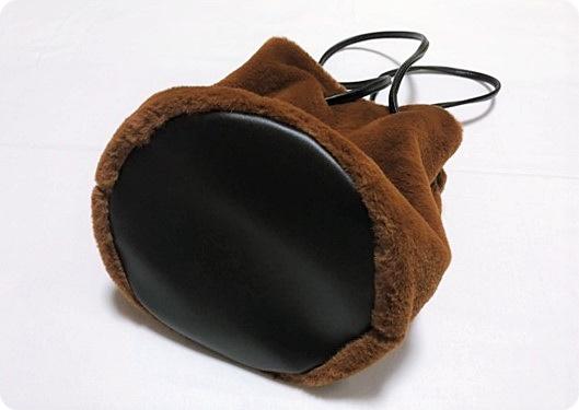 プチプラ ファーバッグ ファー巾着 エコファー マチ