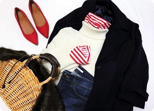 ファッションコーデ ZARAストライプシャツ&しまむらかごバッグ
