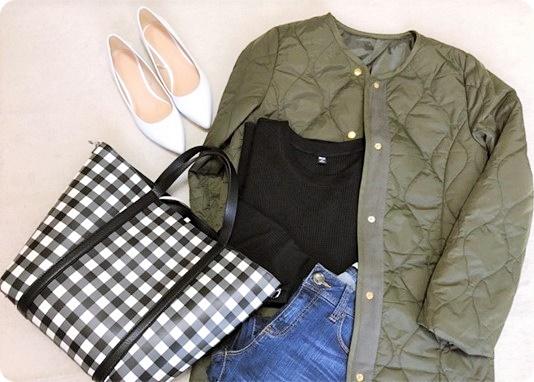 ファッションコーデ 春ファッション キルティングコート×ギンガムチェックバッグ
