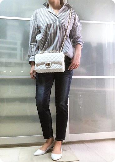 ファッションコーデ UNIQLO ストライプシャツ グレー