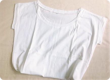 横広ラウンドネックTシャツ 白T