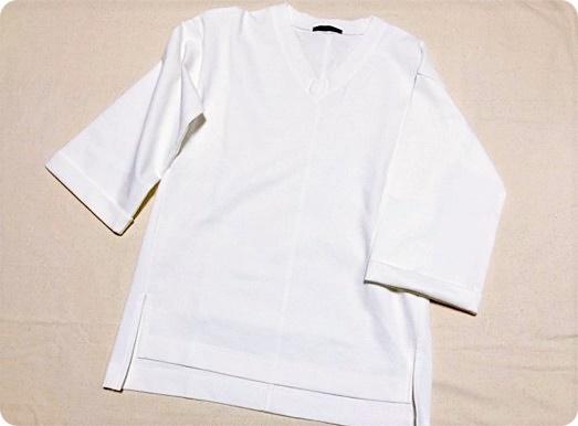 プチプラ 七分袖 ポンチ素材 トップス ホワイト