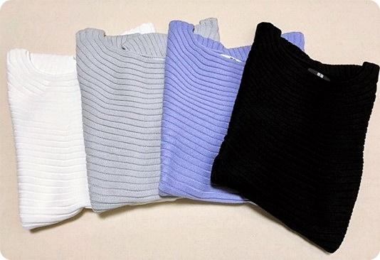 UNIQLO プチプラ 3Dコットンボードネックセーター