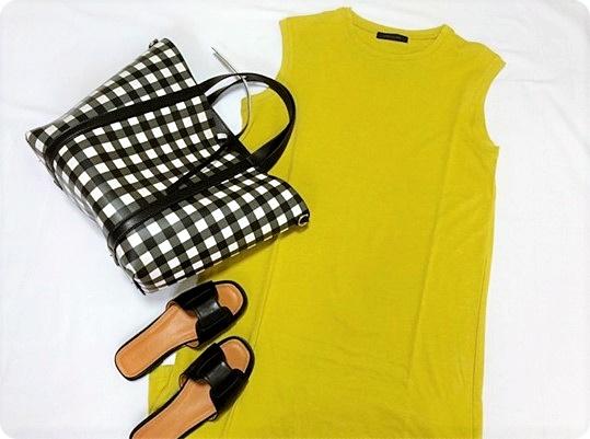 ファッションコーデ ロングワンピース×ZARAギンガムチェックバッグ