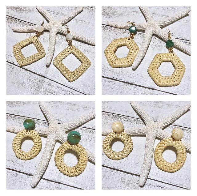 Hand made jewelry  ハンドメイドジュエリー ピアス ラタンピアス 夏ピアス