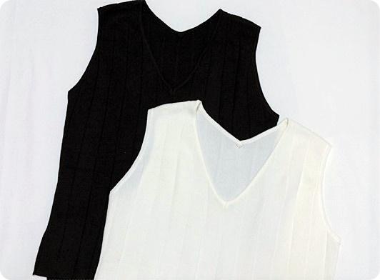 ノースリーブニット ブラック&ホワイト titivate