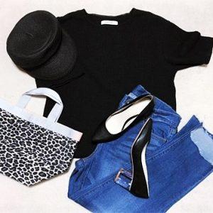 プチプラファッション 30代ファッション レオパード モノトーンコーデ