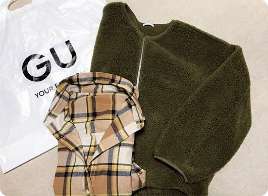 GU購入品 ボアブルゾン チェックシャツ