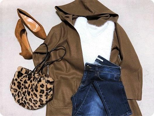 ファッションコーデ 置き画 ガウンコート レオパードエコファーバッグ