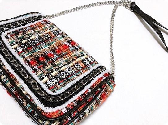プチプラ ZARA ツイード素材 チェーンショルダr-バッグ