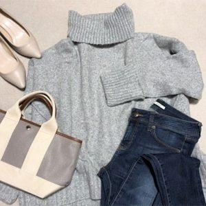 ファッションコーデ H&M プチプラ タートルニット