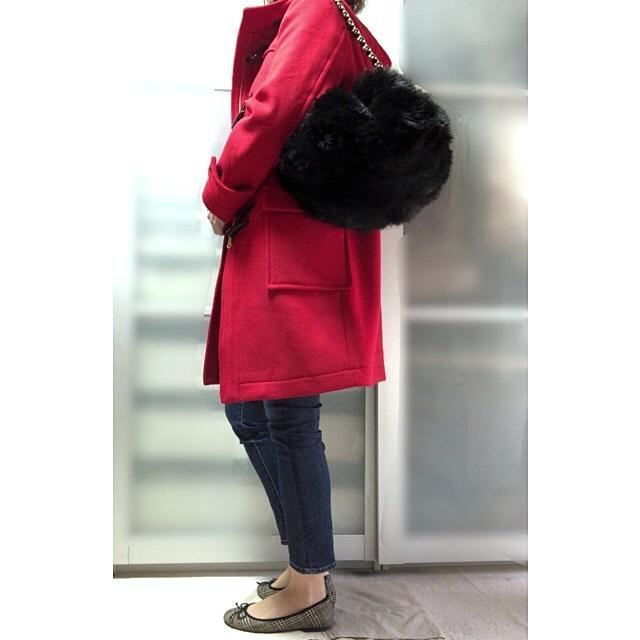 ファッションコーデ プチプラ フェイクファー エコファーバッグ