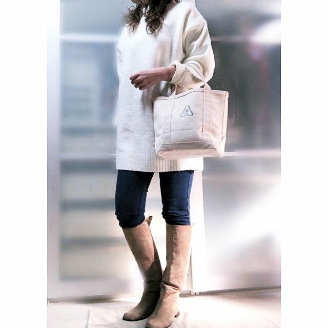 ファッションコーデ Honeys チュニックニット ホワイト