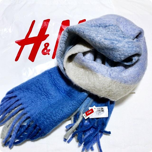 H&M チェックストール ブルー