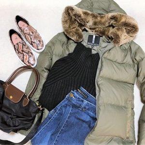 ファッションコーデ プチプラ H&M パイソンスリッポン 置き画