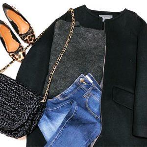 ファッションコーデ 置き画 プチプラ 靴下×パンプスコーデ チャコールグレー
