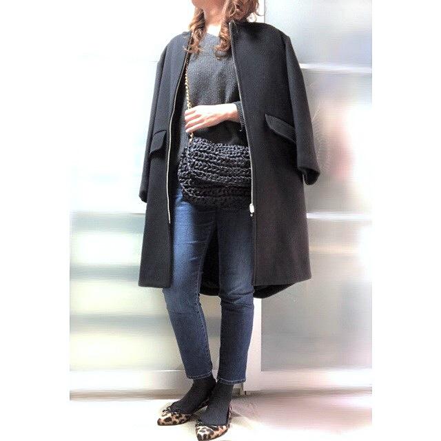 ファッションコーデ 靴下×パンプスコーデ チャコールグレー