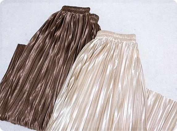 プチプラ プリーツスカート サテン