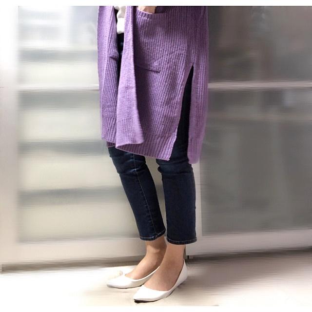 プチプラファッション ロングカーディガン 裾スリット