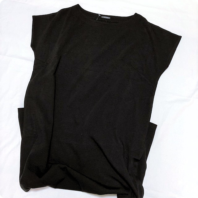 プチプラファッション ロングワンピース フレンチスリーブ ブラック