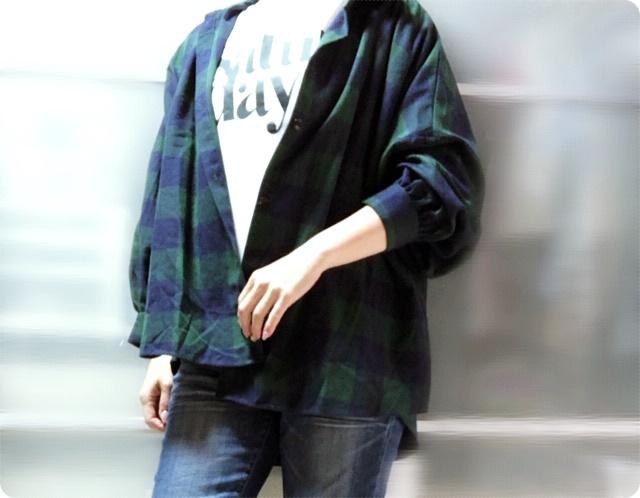 プチプラ オーバーサイズ ブロックチェックシャツ