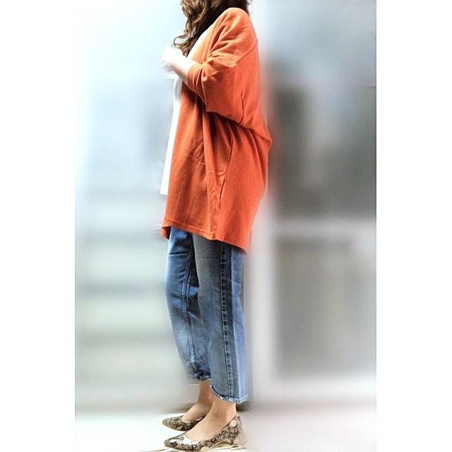 プチプラファッション ワッフルカーディガン オレンジ