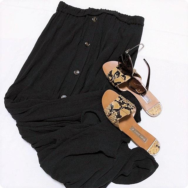 しまむら購入品 ティアードスカート 前ボタン サングラス