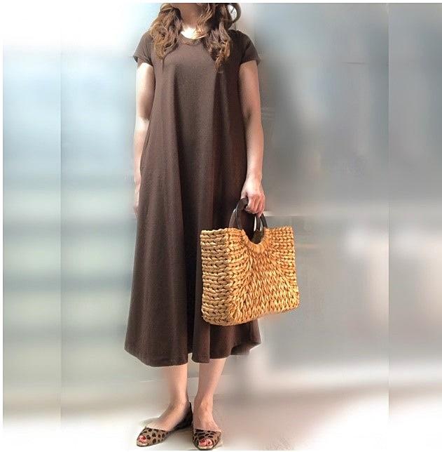 ファッションコーデ AMERICAN HOLIC ロングワンピース ブラウン