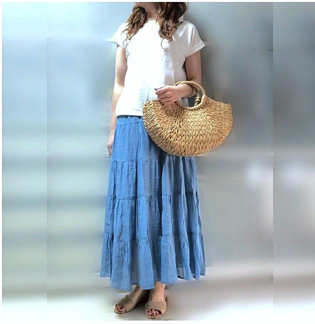 ファッションコーデ プチプラ ティアードスカート サックスブルー