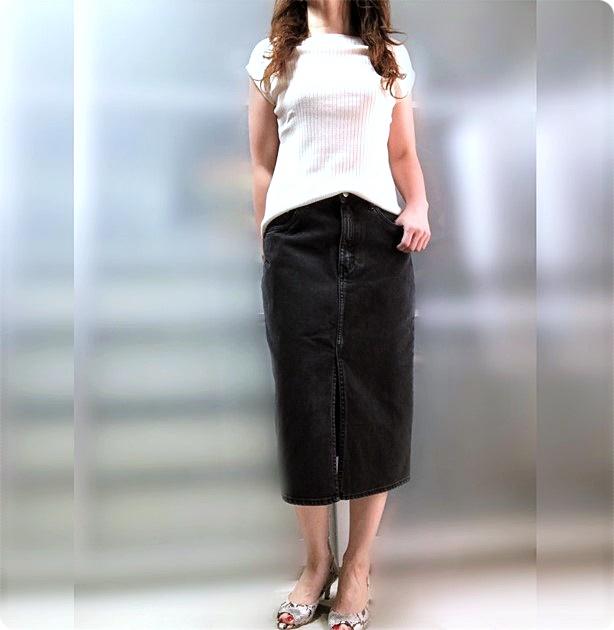 ファッションコーデ プチプラ ZARA ブラックデニムスカート