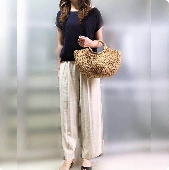 ファッションコーデ リネン 麻 ワイドパンツ