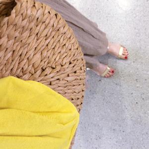 ファッションコーデ ロングスカート GU ワンショルダー リブカットソー